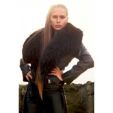 fur collar leather jacket black jackets coats clothing