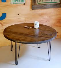 reclaimed round coffee table with hairpin legs home