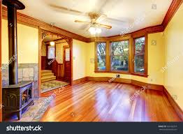 empty beautiful living room wood burning stock photo 163102319