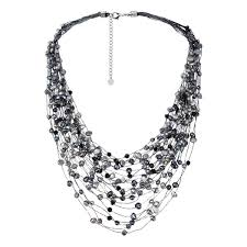 multi layered black necklace images Shop handmade black grey pearl crystal silk layered multi strand jpg