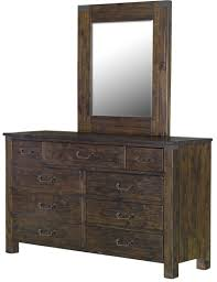 Bedroom Sets With Mirrors Pine Hill Rustic Pine Panel Bedroom Set From Magnussen Home B3561