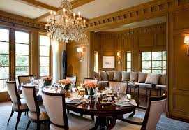 dining room with elegant chandelier and formal yet homey furniture