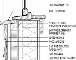 Window Sill Detail Cad Exterior Insulation Retrofit At Window Sill 1 1 2 In Rigid Foam