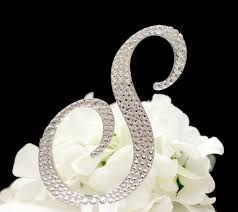 s cake topper 5 monogram wedding cake topper in swarovski cyrstals letter