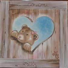 cadre pour chambre fille chambre tableau pour chambre bébé tableau peinture coeur ours