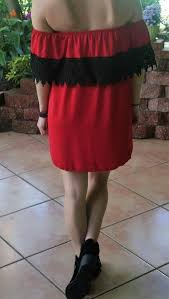 red dress with black lace strapless gameday dress u2013 midnight