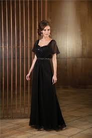 line long black chiffon mother of the bride dress evening gown