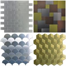 Metal Wall Tiles Kitchen Backsplash Peel U0026 Stick Metal Tiles Sample Wall Art For Kitchen Backsplashes
