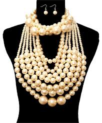chunky pearl bib necklace images Cream gold multilayer twisted chunky pearl choker bib and earrings jpg