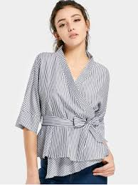 belted blouse striped belted wrap blouse stripe blouses m zaful