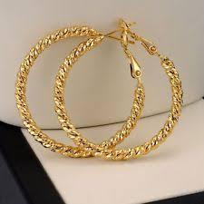 types of earrings for women 18k yellow gold filled women earrings ring hoop 35mm gf fashion