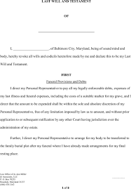 download maryland last will and testament form for free formtemplate