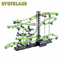 utoysland diy educational toys space rail level 2 3 4 steel marble roller coaster glow in