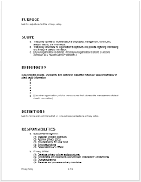 sample privacy policy microsoft word templates