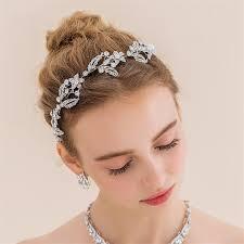 luxury hair accessories wedding bridal silver handmade rhinestone ribbon hairband