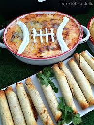 touchdown layered super bowl bean dip recipe tatertots and