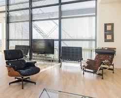 barcelona chair replica living room midcentury with leather