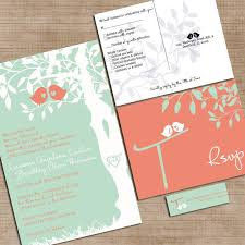 Wedding Invitation Suite Mint Green And Coral Wedding Invitations Custom Love Birdies