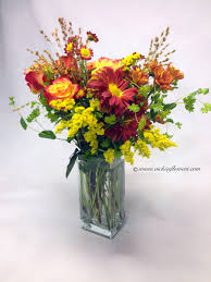 Square Vase Flower Arrangements Fall Halloween Thanksgiving Flowers Centerpieces Vickies