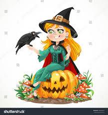 raven pumpkin pattern beautiful witch sitting on pumpkin talks stock vector 404078953