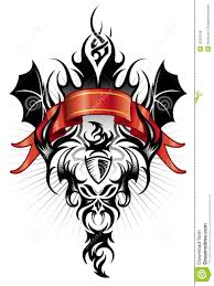 devil tribal tattoo figure black and red stock vector image