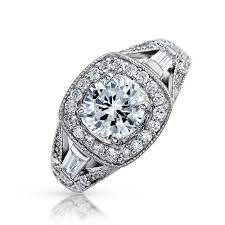 2 engagement rings sterling silver 2 carat cz bridal antique engagement ring