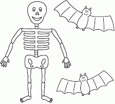 10 scary skeleton coloring pages for kids in halloween
