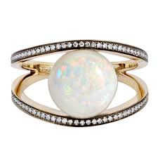 opal engagement rings opal white diamond gold geometry 101 rhombus cocktail ring for
