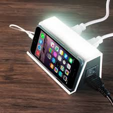 2 outlet 4 usb port charging station with led night light