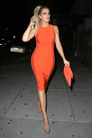 orange dress khloe s orange dress flaunts in tight house of