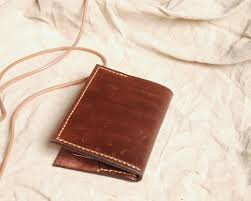 Store Business Credit Cards Minimalist Leather Wallet Card Holder Unique Sewn Business