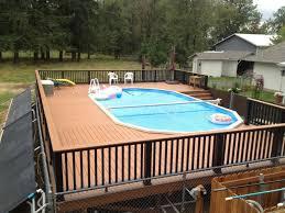 pool dek block plans oval pool with deck above ground pool