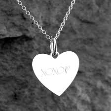 custom engraved heart necklace engraved silver heart pendant customise with text symbols