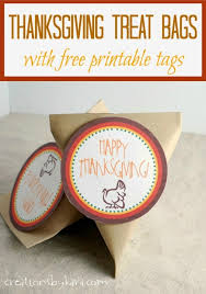 thanksgiving treat bags with free printable gift tags from