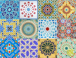 design with glass mosaic and marble mosaic tiles islamic art