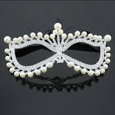 rhinestone masquerade masks free shipping 1pcs rhinestone pearl mask venetian bridal
