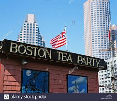 Massachusetts Flag Usa Massachusetts Boston Tea Party Sign And Flag Stock Photo