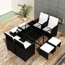 Black Patio Dining Set - vidaxl 21 piece outdoor dining set black poly rattan vidaxl com