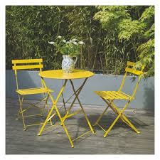 Kirklands Bistro Table Parc 2 Seat Yellow Metal Folding Bistro Table And Chairs Set
