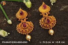 jhumka earrings gold one gram gold plated guaranteed designer high handcrafted