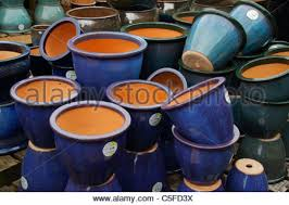 ceramic plant pots and containers in garden centre stock photo