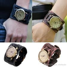 mens bracelet wrist watches images Attractive stylish black brown leather punk rock antiqued brass jpg