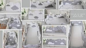 theme etoile chambre bebe tour de lit mini complet réversible 45 x 90 cms forme nuage et