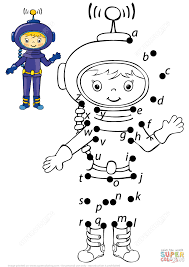 astronaut with letters dot to dot free printable coloring pages