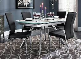 All Glass Dining Room Table 5 Pc Glass Dining Set Chrome Glass Black Raymour
