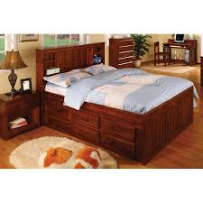 Full Bed With Trundle Merlot Captains Full Bed With 3 Drawers And Trundle