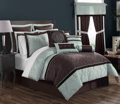 Brown And Blue Bedding by Ellison Lenox 16 Piece Complete Bed Set