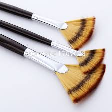 fan brush oil painting 3pcs fan shaped tipped nylon hair material long handle artist type