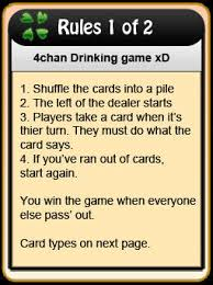 Drinking Game Meme - image 122881 4chan drinking game cards know your meme