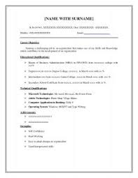 Mba Sample Resume For Freshers by Examples Of Resumes B Tech Fresher Resume Format Doc Mba